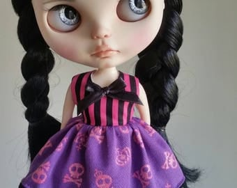 Pink and Purple skulls dress for Blythe and Pullip
