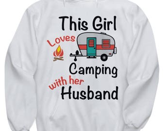 This Girl Loves Camping With Her Husband Hoodie-Camping Hoodie-Couples Hoodie-Hiking Hoodie-Matching Camping,His & Hers Camping Hoodie
