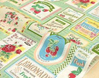 Japanese Fabric Atsuko Matsuyama Fruit Label  - green - fat quarter