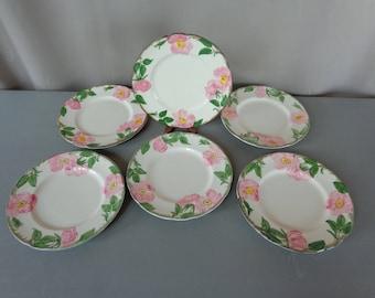 """Vintage Lot of 6 Franciscan Desert Rose 8"""" Salad Dessert Plates"""