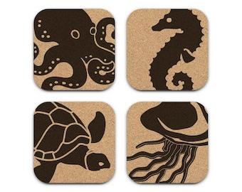 OCTOPUS SEAHORSE TURTLE Jellyfish Nautical Coastal Cork Coaster Set Of 4 Home Decor Barware Decoration