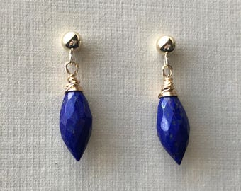 Faceted Lapis Lazuli and 14 karat gold fill post earrings