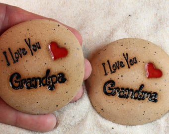 Painted Rocks,I Love You Grandma, I Love You Grandpa Ceramic Message Stones, Pocket Stones,  Rock Art