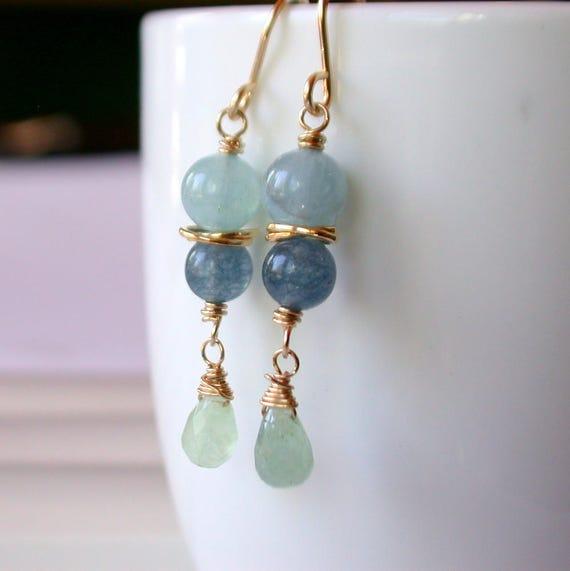 Aquamarine and Jade Earrings
