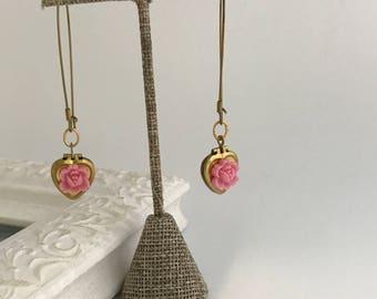 Heart Locket Earrings - Valentine Earrings - pink rose - locket earrings - small gold heart brass lockets