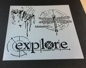 EXPLORE  Butterfly and Dragonfly  TCW  6 x 6 Stencil