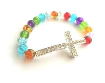 Colorful Side Cross Bracelet-Rhinestone Cross Bracelet-MultiColor Bracelet
