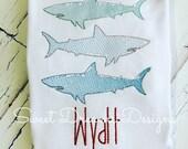 Shark attack! Boys Vintage Stitched Sharks Stacked - Boys Shark Tee