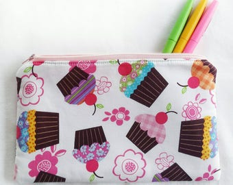 bright cupcakes zipper pouch, sweet school pencil or art supply bag, perfect for medication, epi-pen, or cosmetic, makeup travel purse