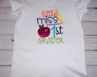 Sample SALE Little Miss 1st Grader White S/S Shirt Size 8--Back to School--Apple--Pencil