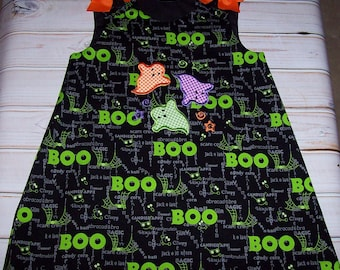 A-Line Dress with 3 Little Ghosts Applique Monogram LIMITED QUANITY Halloween Fall Holiday