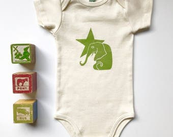 Elephant and Star Organic cotton short sleeve onesie in Avocado, Baby shower guft, Made in Seattle, Available in long sleeve