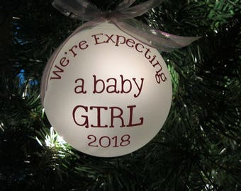 Baby Gender Reveal CLEAR Glass Ball Ornament either boy or girl