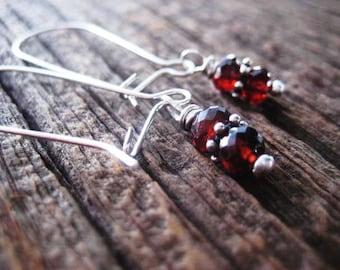 Garnet Earrings, Mozambique Garnets, January Birthstone, Sterling Silver, Snowflake Spacers, Genuine Garnet Gems, candies64