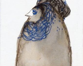 Queen Bird Original / watercolour mixed media