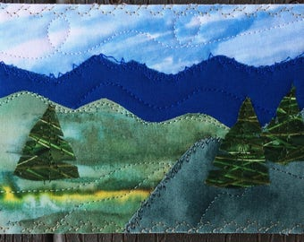 Landscape Art - Fabric Postcard - Small Quilt Landscape - Handmade Greeting Card - Landscape Art - Outdoor Nature Postcard - Gift for Him