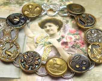 "1800s DOG BUTTON bracelet, Victorian canine, bird, fruit & flowers, 7.5"" button jewellery."