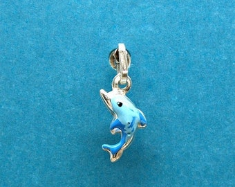 SALE Dolphin Sterling Silver Hand Painted  3 Dimensional Charm Pendant Customize no. 2010