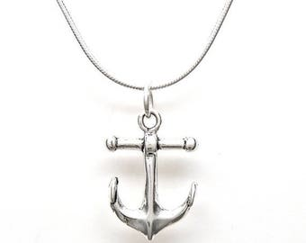 SALE Boat Anchor Sterling Silver Nautical Charm Pendant Customize no. 2065