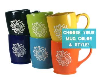 Flower Mug - Choose Your Chrysanthemum Cup Color