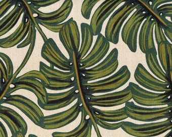 Rifle Paper Co. for Cotton + Steel FABRIC - Menagerie Canvas - Monstera in Natural