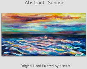 Original abstract painting oil painting Sea art Sunrise Wave with fiery sky on gallery wrap canvas  48x24