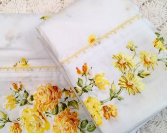 Yellow Roses Floral Full Sheet Set - New - Unused - Fashion Manor Percale Penn-Prest - NIP - NOS - Vintage Yellow Bedding Fashion Manor