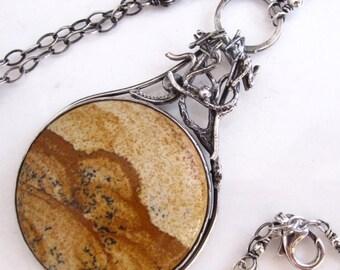SUMMER SALE Joshua Tree Necklace - Sterling silver tree African Queen Jasper