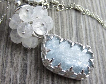 SUMMER SALE Cummulus Cloud Necklace - Kyanite in Sterling Silver with a Moonstone Cloud