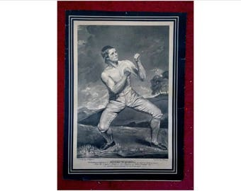 "OLD Antique Bare Knuckle Boxer Print of Richard Humphreys, 10""x14"", sports, boxing"