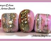 Big Hole Beads Purple and Pink Lampwork Bead Set Canyon Echoes