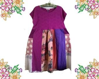Patchwork Perfection! Pretty Purple / Mauve / Pink Patchwork Dress.  Recycled / Unique / Refashion. Size Large.