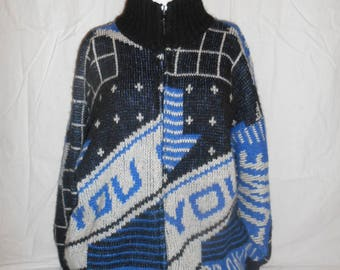 Vintage zip up     thick Sweater   80s 90s            cool neat unique       mohair acrylic nylon
