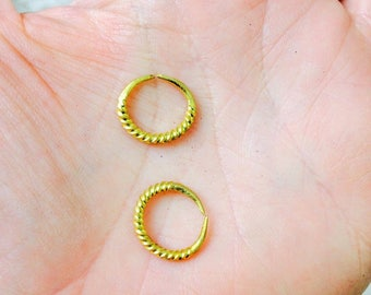 Tiny Fulani Gold Earrings. African. Small Hoops
