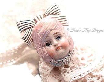 Dolly Ring Doll Pink Hair Girl Big Bow Statement Ring Assemblage Wearable Doll Head Jewelry Lorelie Kay Original