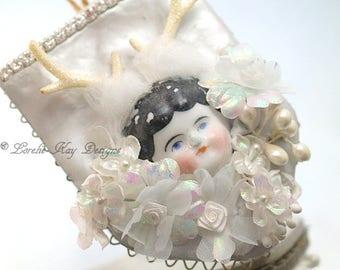 Deer Charlotte Ornament Whimsical Forest Mounted Deer Head Antique Doll Assemblage Lorelie Kay Original