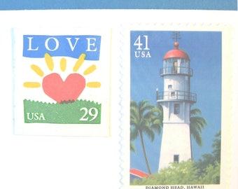 Lighthouse Postage, Love Sunrise Stamps, Mail 20 Nautical Wedding Invitations 2 oz 70 cents postage unused, Pacific Coast blue stamps unused