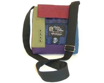 Mr. Mooney, Jr. #1318- Recycled Suit Coat Messenger - Unisex Messenger - Upcycled Handbag - Crossbody Bag - Rainbow Bag - Colorful Purse