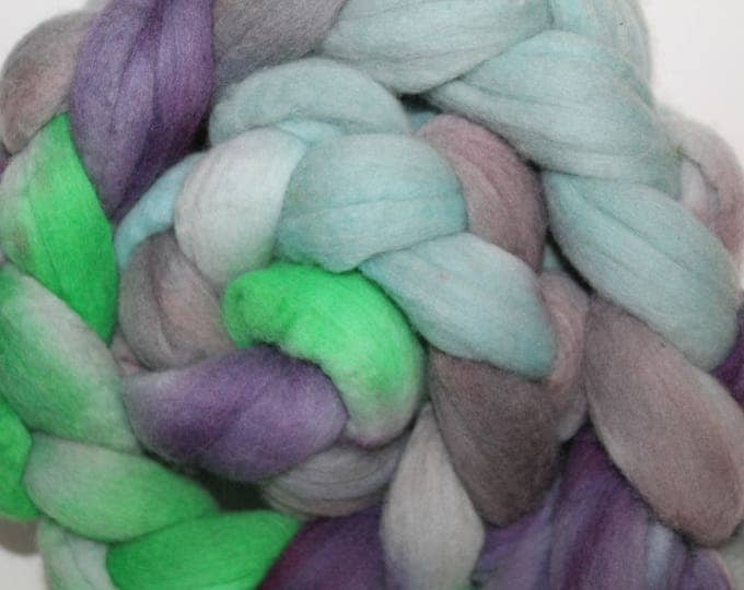 Handpainted  Merino Wool Top. Super fine. 19 micron  Soft and easy to spin. 4oz  Braid. Spin. Felt. Roving.M291