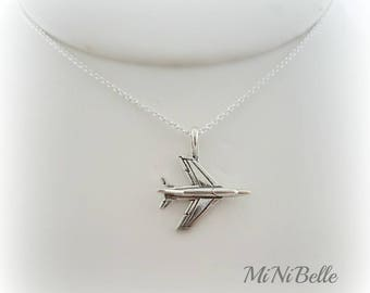 Sterling Silver Airplane Necklace. Flight Attendant Gift. Graduation. Plane Silver Necklace