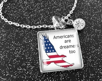Americans Are Dreamers Too, original art illustration pendants, Ready To Ship in a  gift box