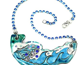 Ocean Wave Sparkle Surly Ceramic Necklace With Rhinestone Chain