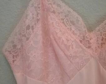 Vintage 60s pastel pink lace nylon slip