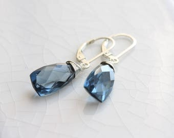 London blue quartz earrings - sterling silver leverback earrings with blue quartz briolettes - sterling silver jewelry - gift for her
