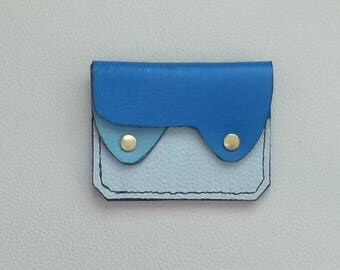 Small Leather  Wallet, Coin Purse, Card Case,  Slim Leather Wallet, Minimalist Wallet. Blue Leather Wallet