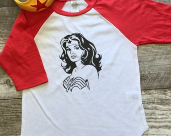 Boys Girls Unisex Wonder Woman Baseball T Shirt modern graphic trendy tee 3/4 sleeve Superhero red white