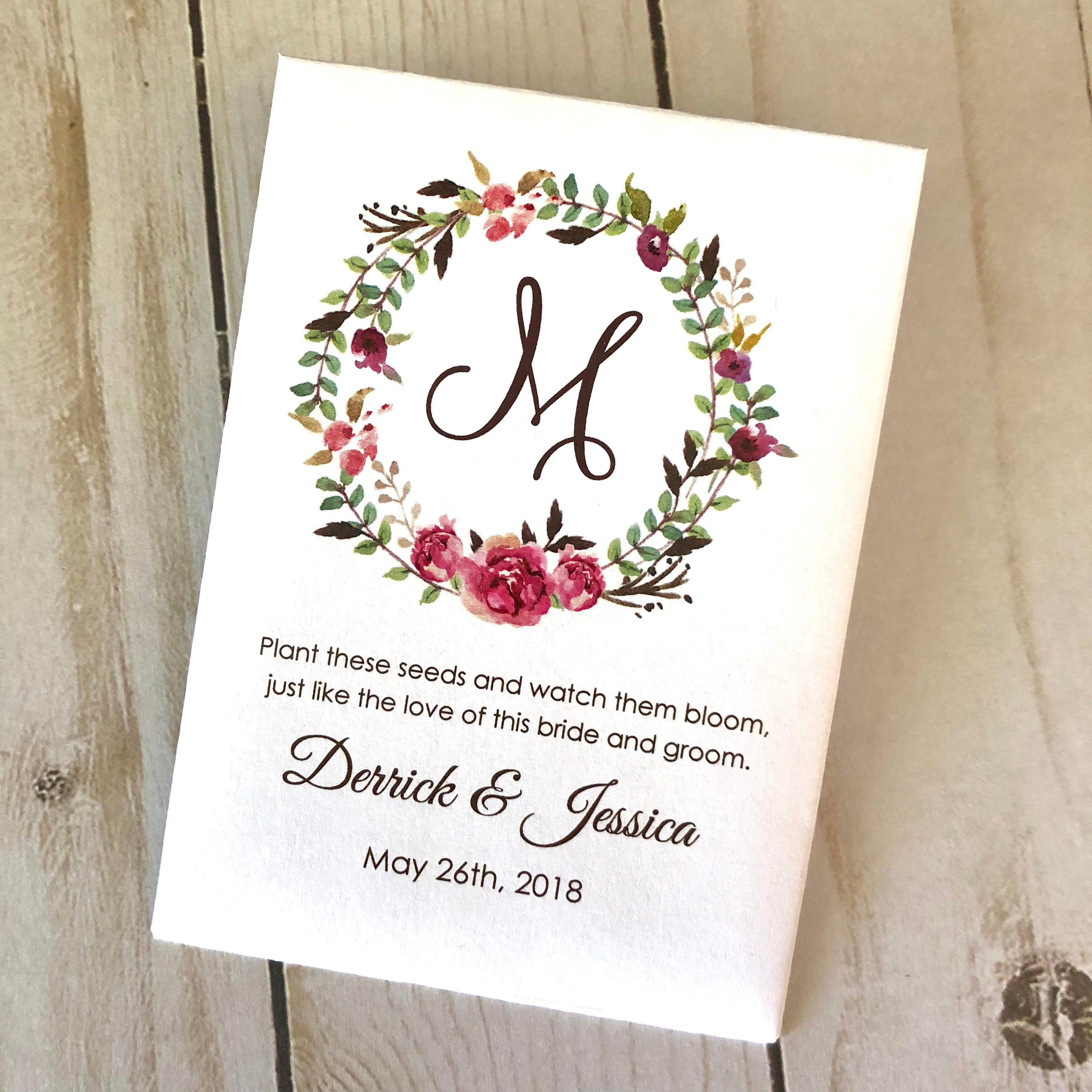 Personalized Seed Packets for Wedding Favors | Giftwedding.co