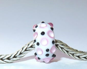 Luccicare Lampwork Bead - Pink IX -  Lined with Sterling Silver