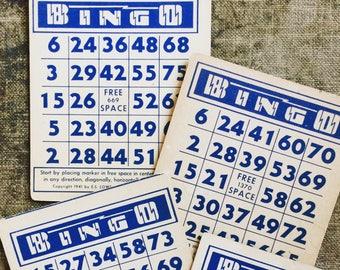 1940s Vintage Bingo Cards - Lightening Bolt Cards