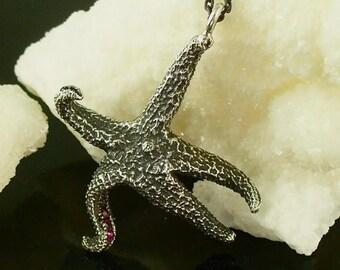 SALE starfish, starfish pendant, sterling silver starfish - Dancing Starfish pendant with Sapphires
